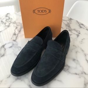 Tod's Moccasino Suede Penny Loafers Blue
